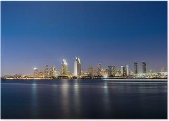 San Diego Skyline at Night Poster