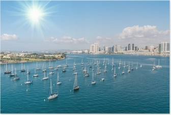 Poster San Diego skyline en de waterkant
