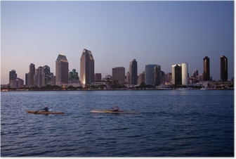 San Diego skyline on clear evening with kayaks Poster