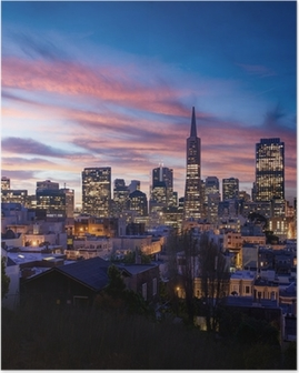 San Francisco skyline and Bay Bridge at sunset, California Poster