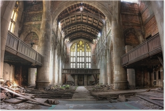 Sanctuary. Abandoned City Methodist Church in Gary, Indiana. HDR Poster