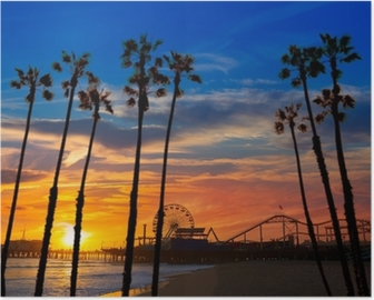 Santa Monica California sunset on Pier Ferrys wheel Poster
