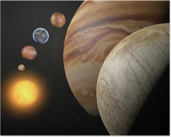 Poster Satelliet-Europa, maan van Jupiter, ruimte zonnestelsel