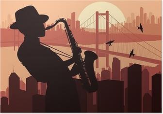 Poster Saxofonist achtergrond illustratie