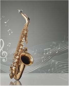 Poster Saxophone avec des notes de musique