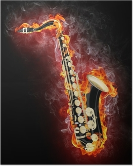 Saxophone in Flame Poster