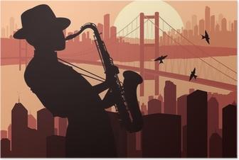 Saxophone player background illustration Poster