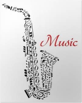 Saxophone with musical notes Poster