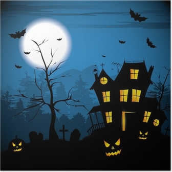 Scary house - Halloween background Poster