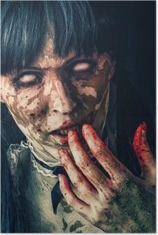 Poster Scary zombie vrouw met bloedige ogen