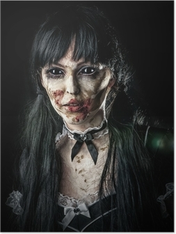 Scary zombie woman with black eyes Poster
