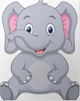 Poster Schattige baby olifant cartoon