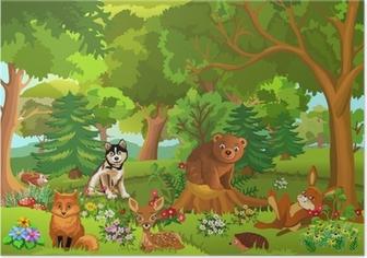 Poster Schattige dieren die in het bos