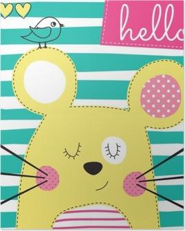 Poster Schattige gele muis met vogel vector illustratie