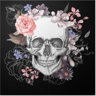 Poster Schedel en Bloemen Dag van de Doden
