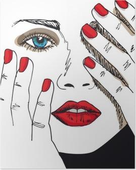 Poster Schets van mooie vrouw gezicht. Vector illustratie