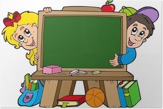 School chalkboard with two kids Poster