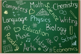 School subjects and doodles on chalkboard Poster