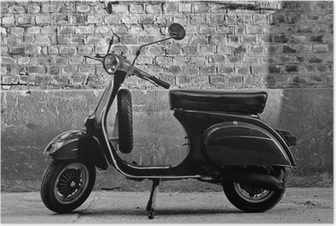 Scooter in front of a wall Poster