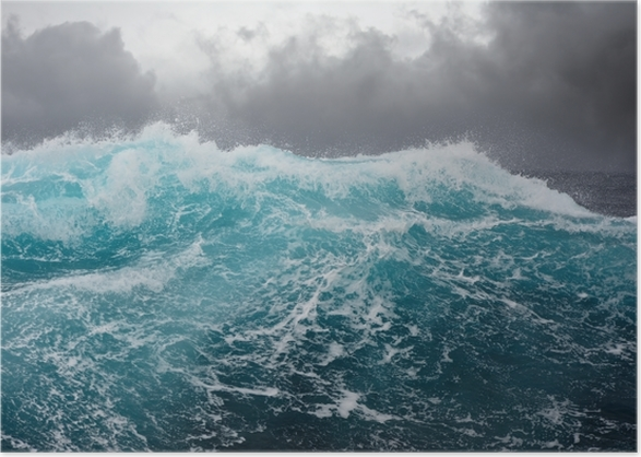 Sea wave in the atlantic ocean during storm Poster - sea wave