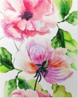 Poster Seamless avec Pivoine et fleurs de pavot