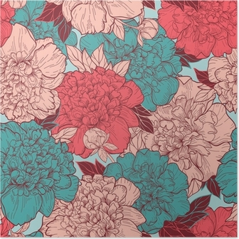 Seamless background with peonies Poster