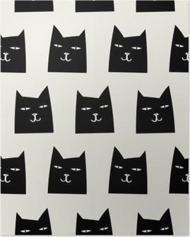 seamless cat pattern Poster