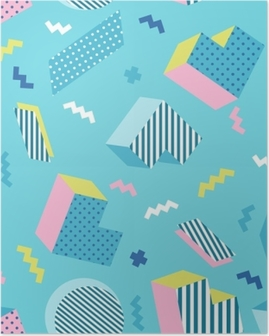 Seamless colorful old school geometric blue background pattern, memphis design style. Vector illustration Poster
