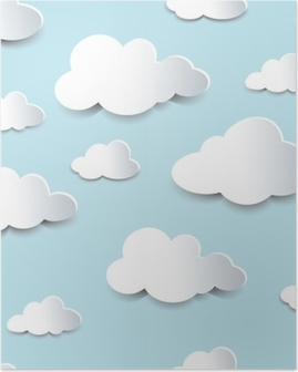 Seamless cutout clouds Poster