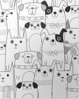 Seamless Dogs pattern Poster