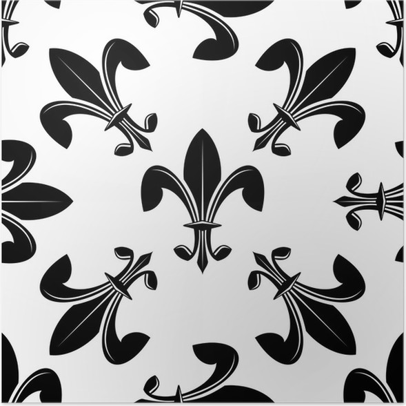 seamless fleur de lys pattern in black and white poster pixers