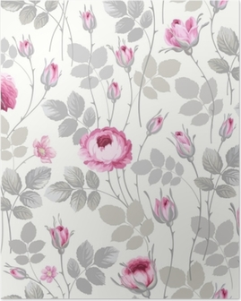 seamless floral pattern with roses in pastel colors Poster