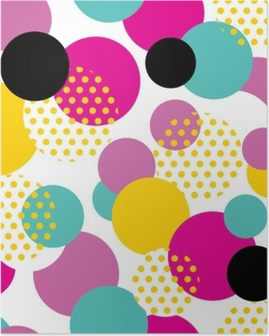 Seamless geometric pattern in retro 80s style. Pop art circle pattern on white background. Poster