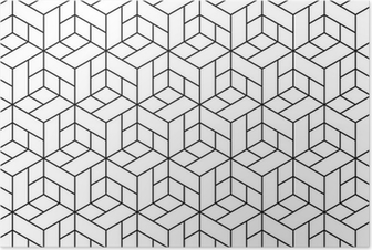 Seamless geometric pattern with cubes. Poster