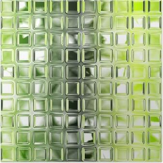 Seamless green glass tiles texture background, kitchen or bathro Poster