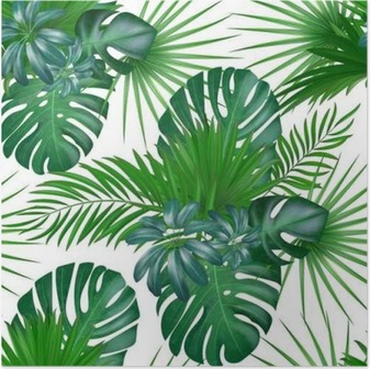 Seamless hand drawn realistic botanical exotic vector pattern with green palm leaves isolated on white background. Poster