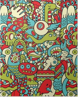 Seamless Hipster Doodle Monster Collage Pattern Poster