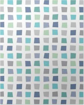 seamless hipster geometric pattern navy blue aqua Poster