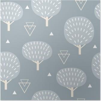 Poster Seamless mönster i modern skandinavisk stil. Vektorgeometri bakgrund av norra natur.