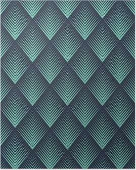 Seamless neon blue op art rhombic chevron blend pattern vector Poster