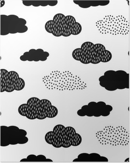 Poster Seamless noir et blanc avec des nuages. Cute baby douche vector background. style de dessin des enfants illustration.