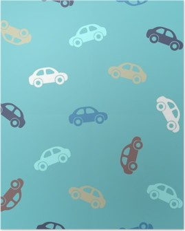 Seamless pattern - cars Poster