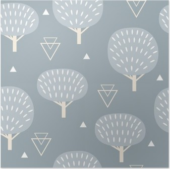 Seamless pattern in modern Scandinavian style. Vector geometry background of north nature. Poster