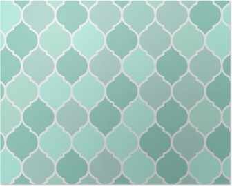 Seamless pattern turquoise tiles, vector Poster
