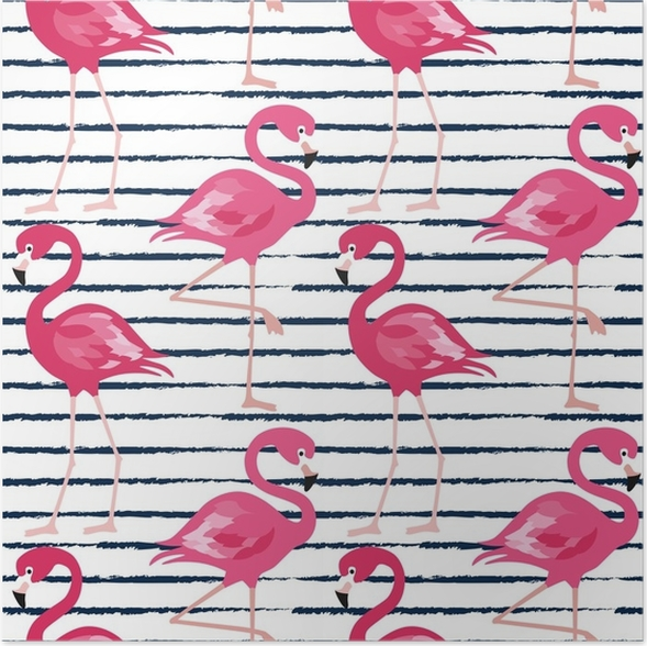 Poster Seamless Pattern With Dark Blue Grunge Stripes And Pink Flamingo Vector Background Design
