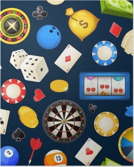 Seamless pattern with gambling and other casino entertainments. Poker, dice vector illustrations Poster