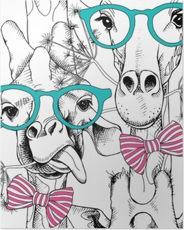 Seamless pattern with giraffes in the glasses and with bow. Vector illustration. Poster