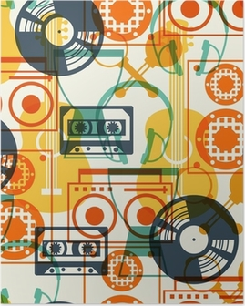 Seamless pattern with musical instruments in flat design style. Poster
