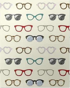 Seamless pattern with retro glasses and frames Poster