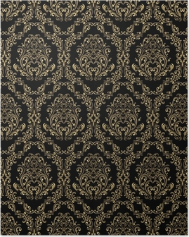 Seamless retro wallpaper in victorian style: gold on black. Poster